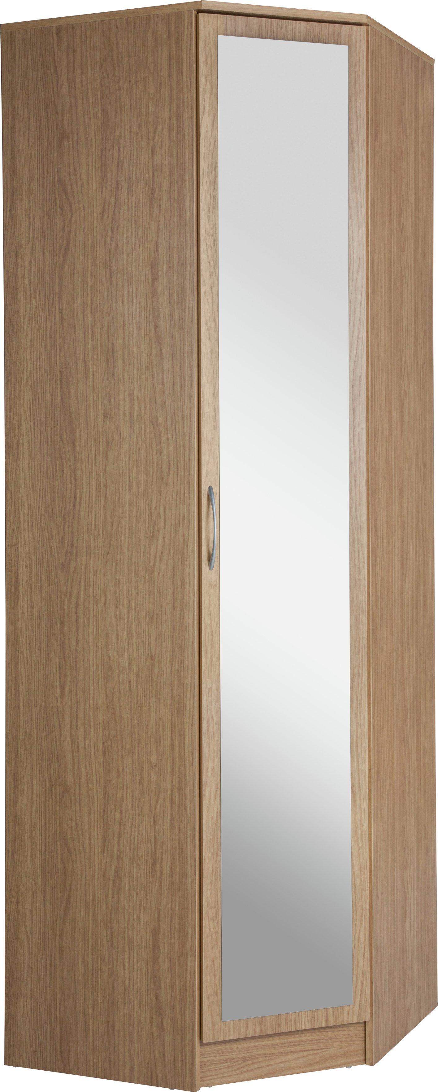 Argos Home Cheval 1 Dr Mirrored Corner Wardrobe - Oak Effect