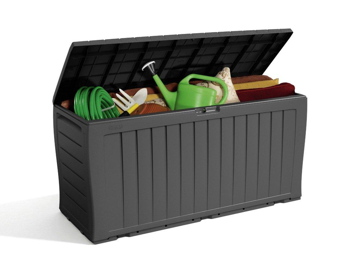 'Keter - Wood Effect Plastic Garden Storage Box - Grey