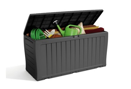 Image of the Keter Wood Effect Garden Storage Box - Grey.