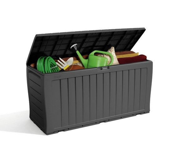 Buy Keter Wood Effect Garden Storage Box Grey Garden Storage