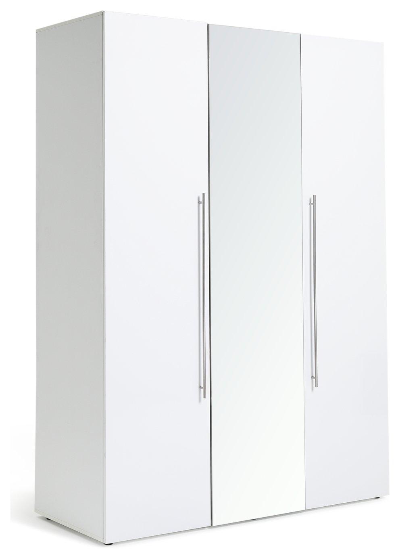 Argos Home Atlas 3 Door Mirrored Tall Wardrobe - White
