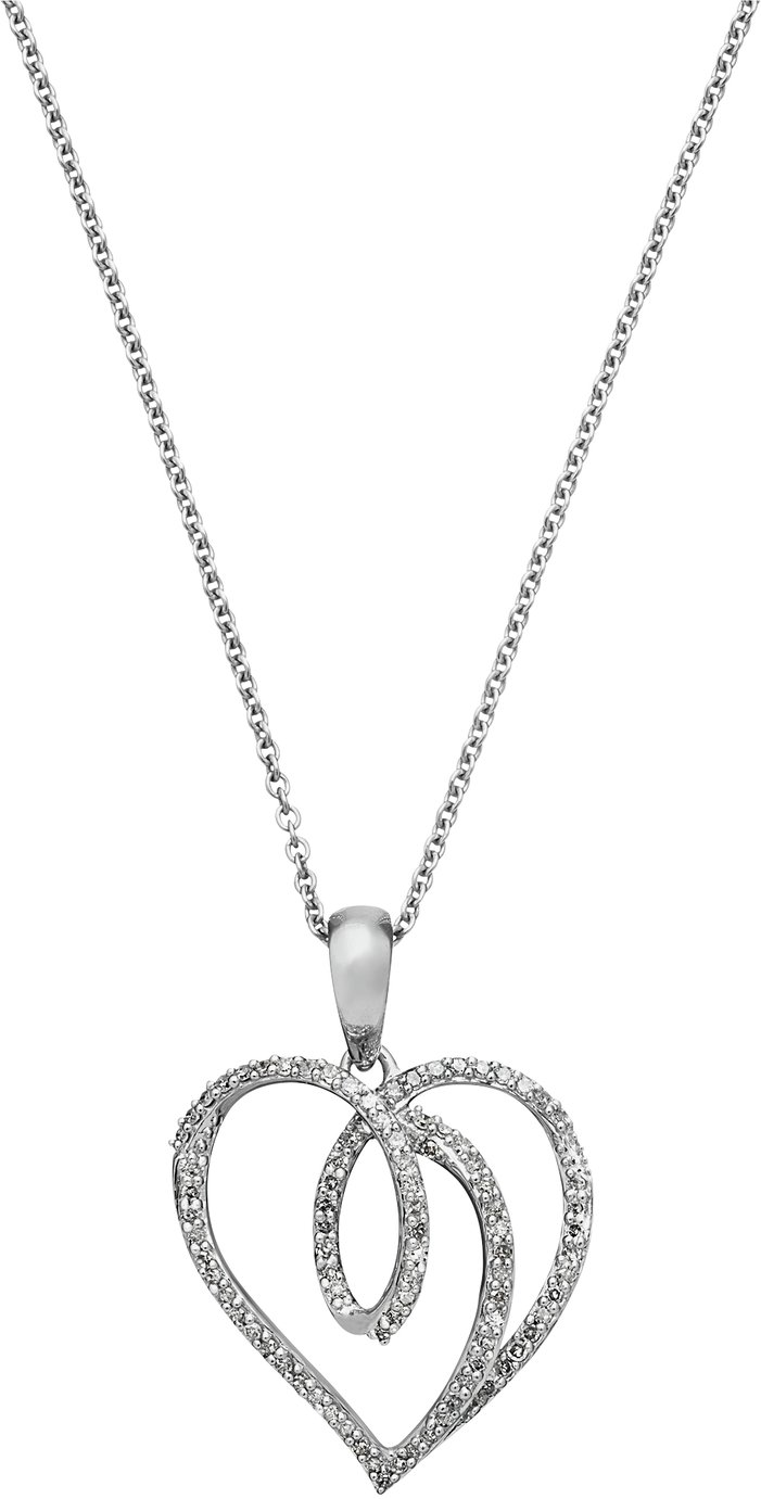Revere 9ct White Gold 0.25ct tw Diamond Heart Pendant