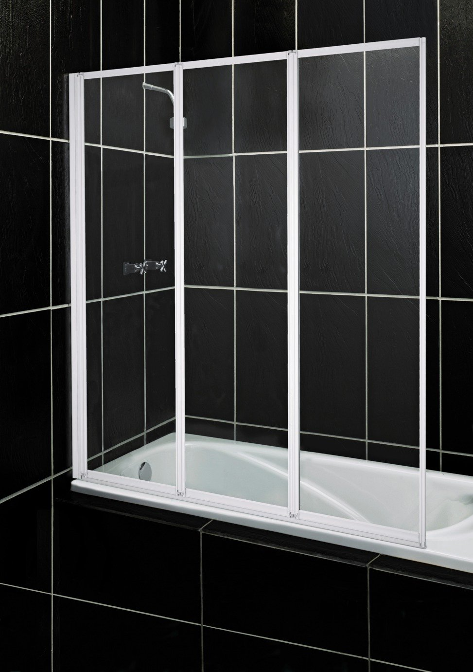 Image of Aqualux Fully Framed White 3 Fold Bath & Shower Screen