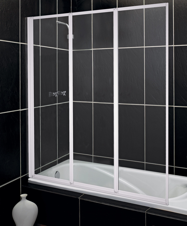 Delightful Aqualux Fully Framed White 3 Fold Bath U0026 Shower Screen