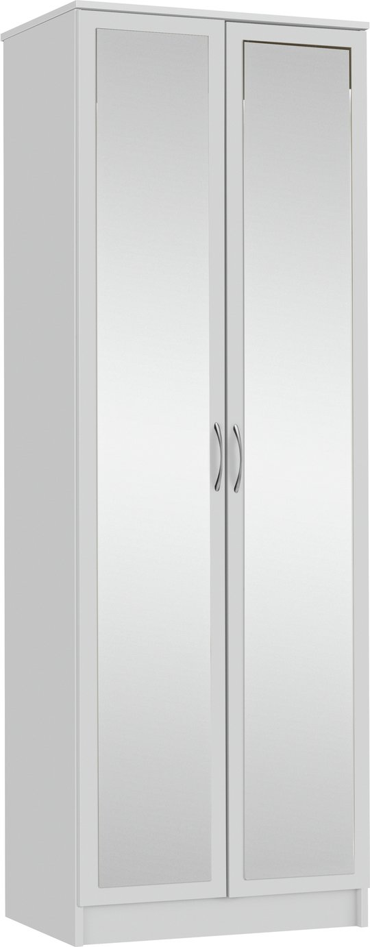 Argos Home Cheval 2 Door Mirrored Wardrobe - White