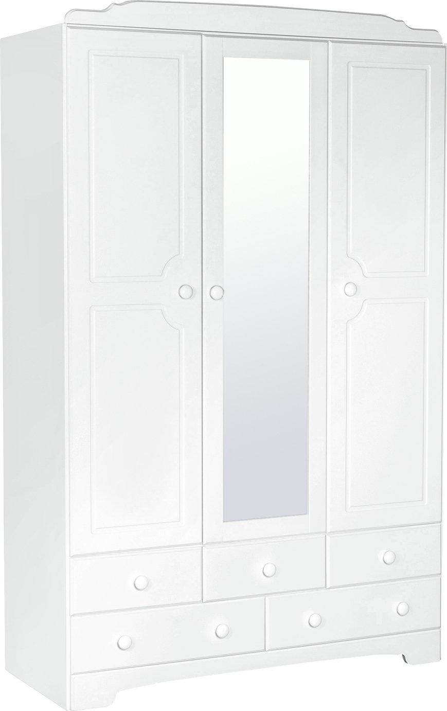 Argos Home Nordic 3 Dr 5 Drw Mirrored Wardrobe - Soft White