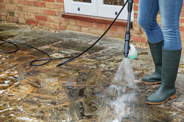 How to jet wash a patio.