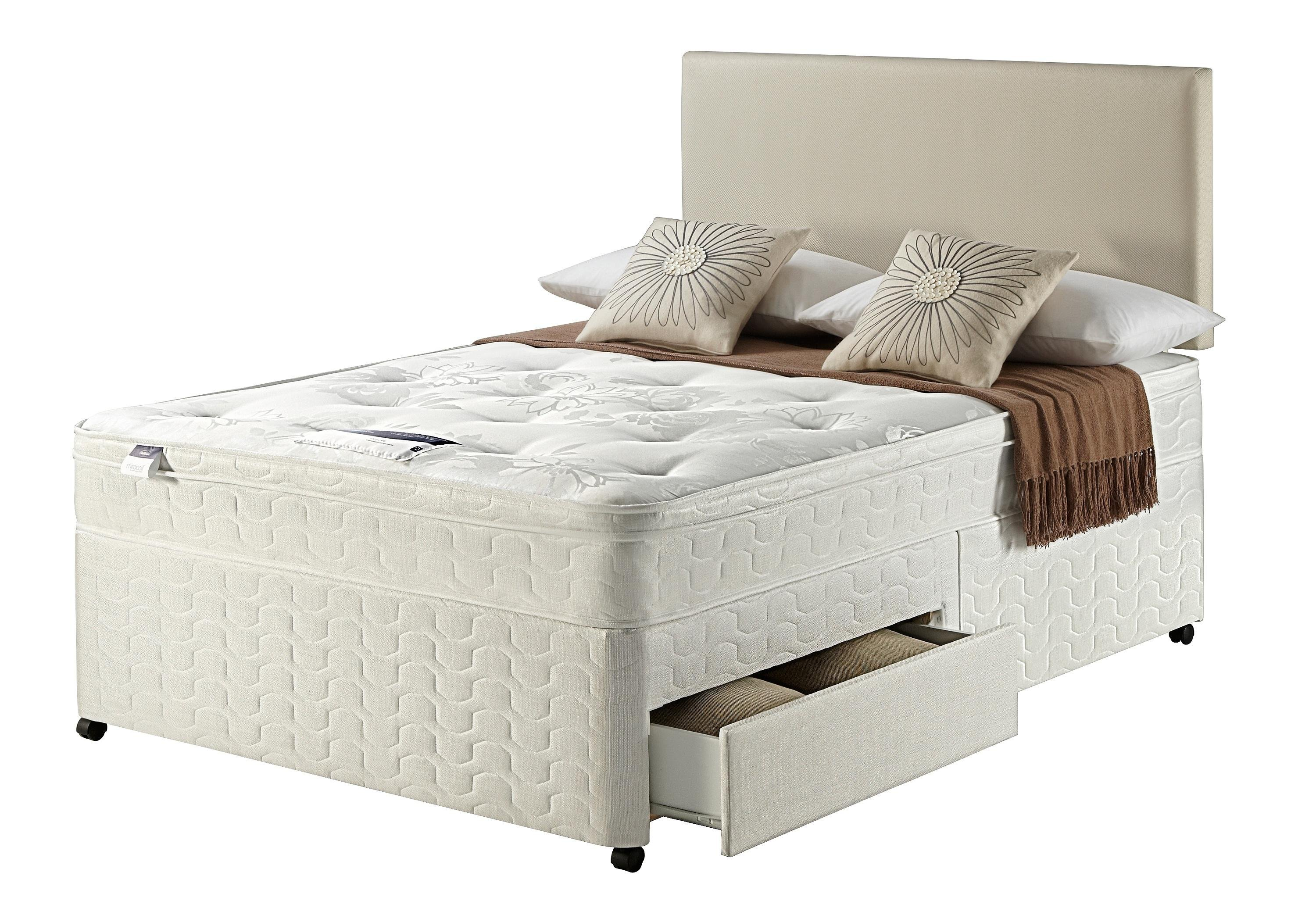 Silentnight miracoil travis ortho double 2 drw divan bed for Silent night divan beds