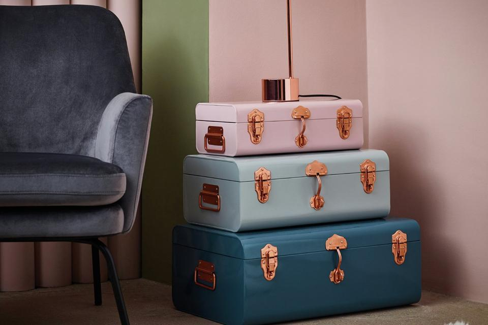 Set of 3 trunks stacked on top of each other.