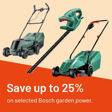 Save up to 25% on selected Bosch Garden Power.