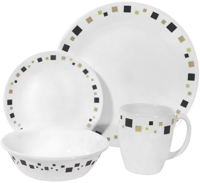 Image of Corelle - Geometric 16 Piece Set - Brown