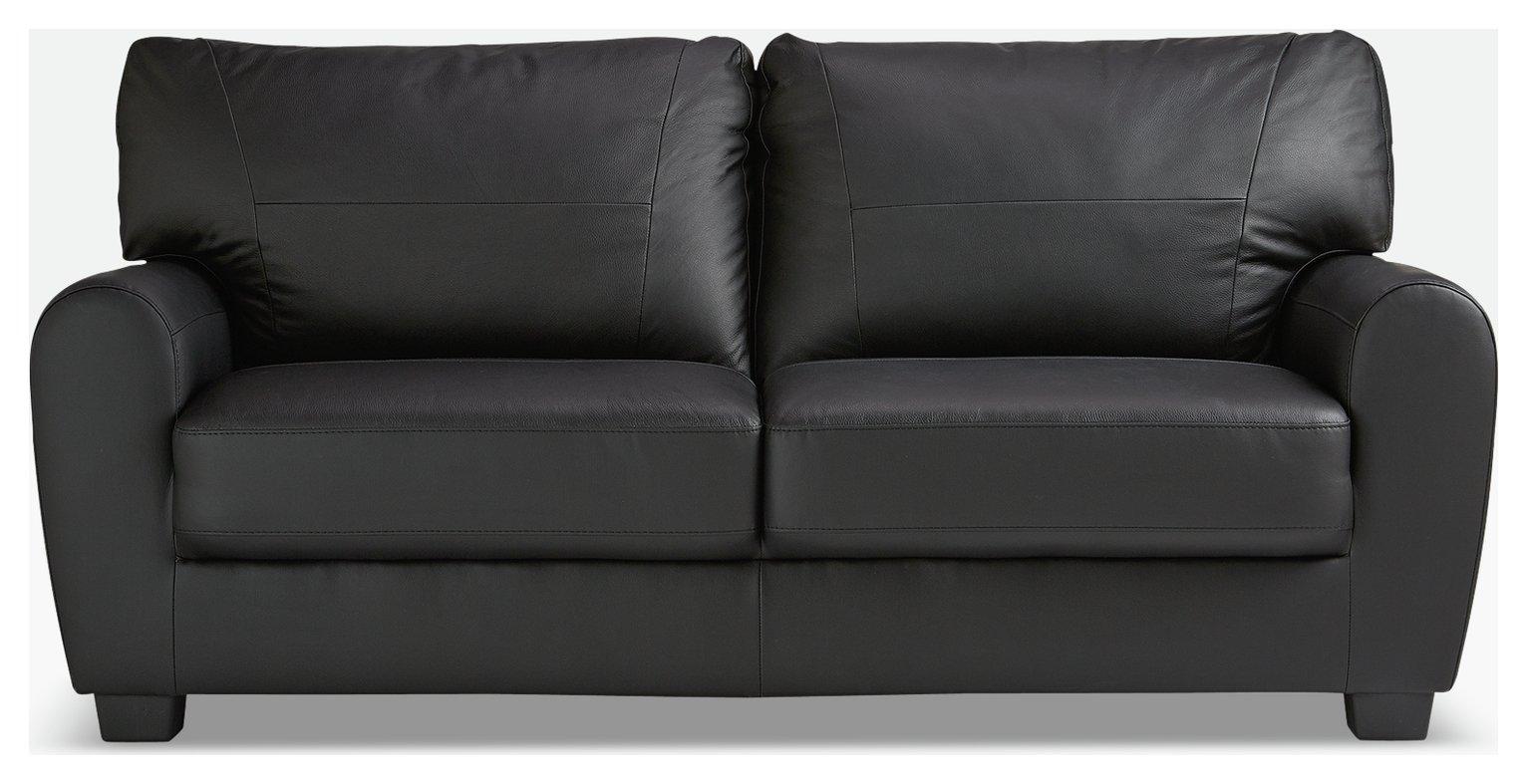 Argos Home Stefano 3 Seater Faux Leather Sofa - Black