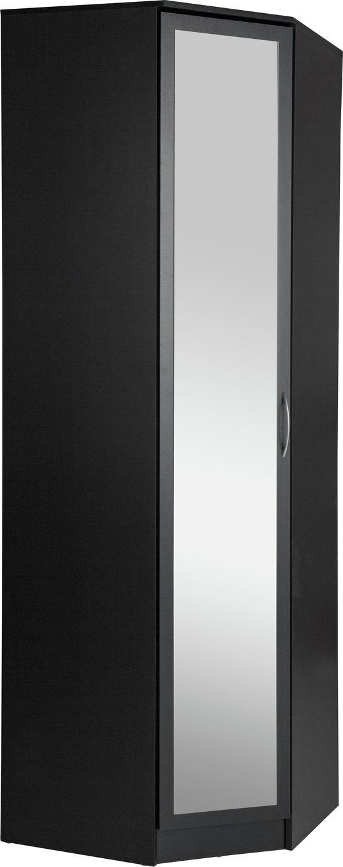 Argos Home Cheval 1 Door Mirrored Corner Wardrobe - Black