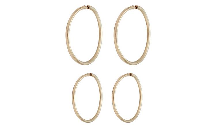 Revere 9ct Yellow Gold Hoop Earrings - Set of 2