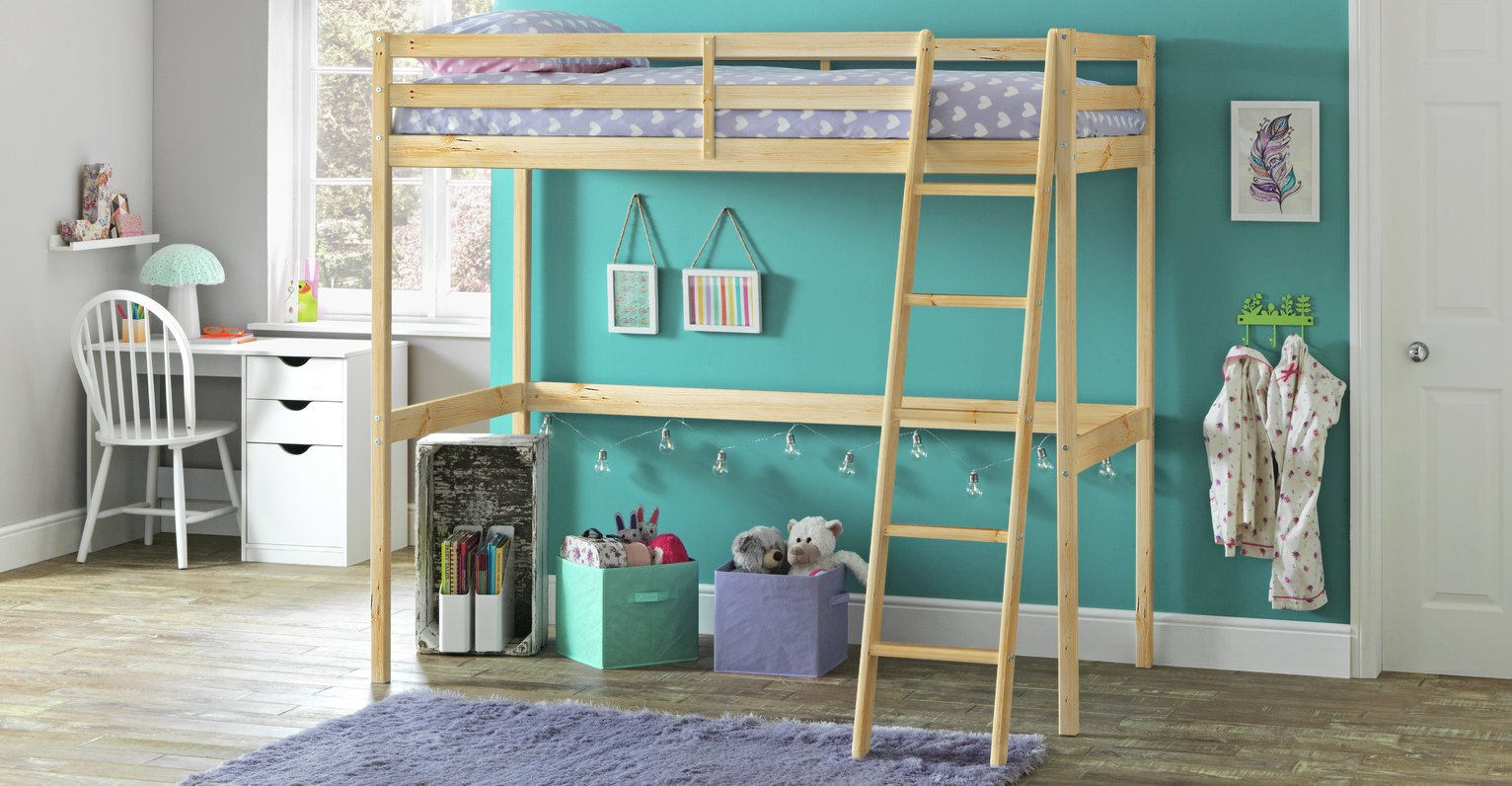 Buy Argos Home Kaycie Wood High Sleeper Single Bed Frame Pine