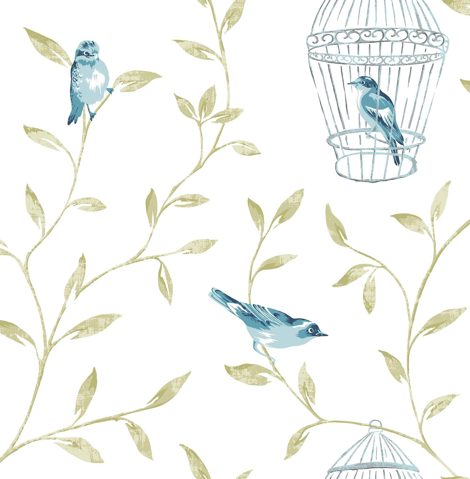 fresco wallpaper  songbird teal.