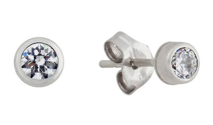 Revere Round Cubic Zirconia 9ct White Gold Stud Earrings