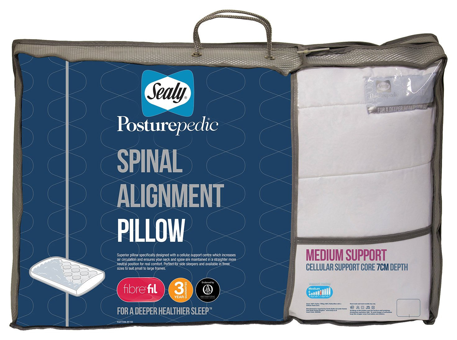 sealy  posturepedic spinal alignment pillow  7cm