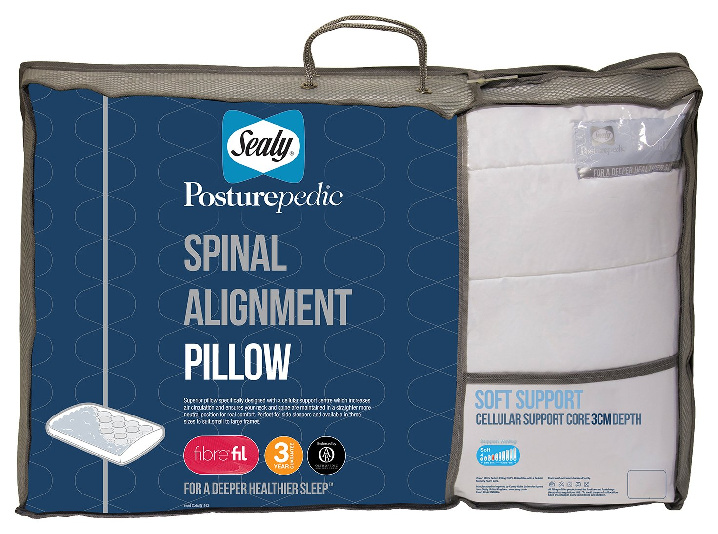 sealy  posturepedic spinal alignment pillow  3cm