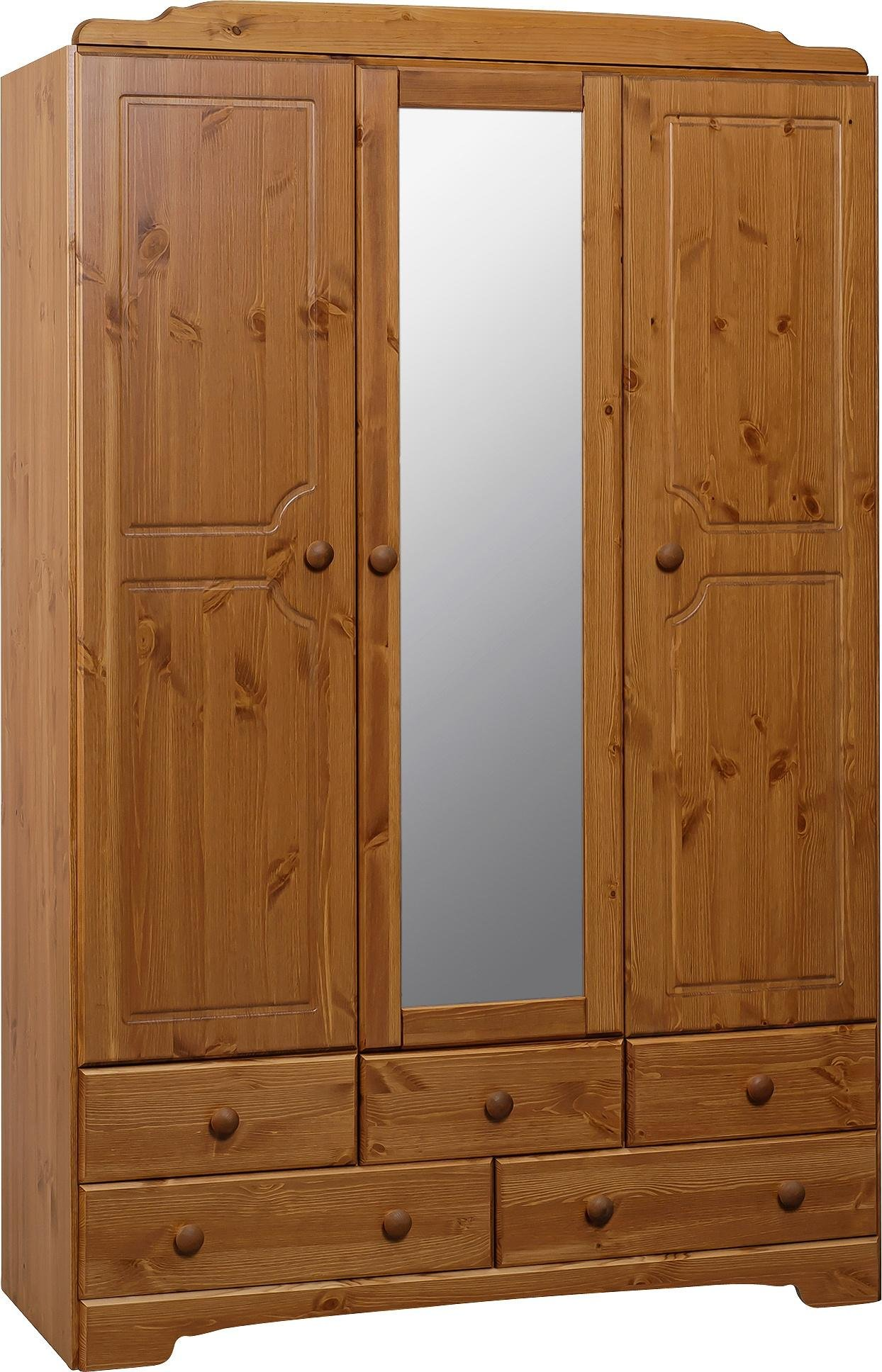 Argos Home Nordic 3 Door 5 Drawer Mirrored Wardrobe - Pine