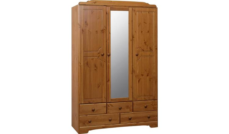 Argos Home Nordic 3 Door 5 Drawer Mirror Wardrobe - Pine