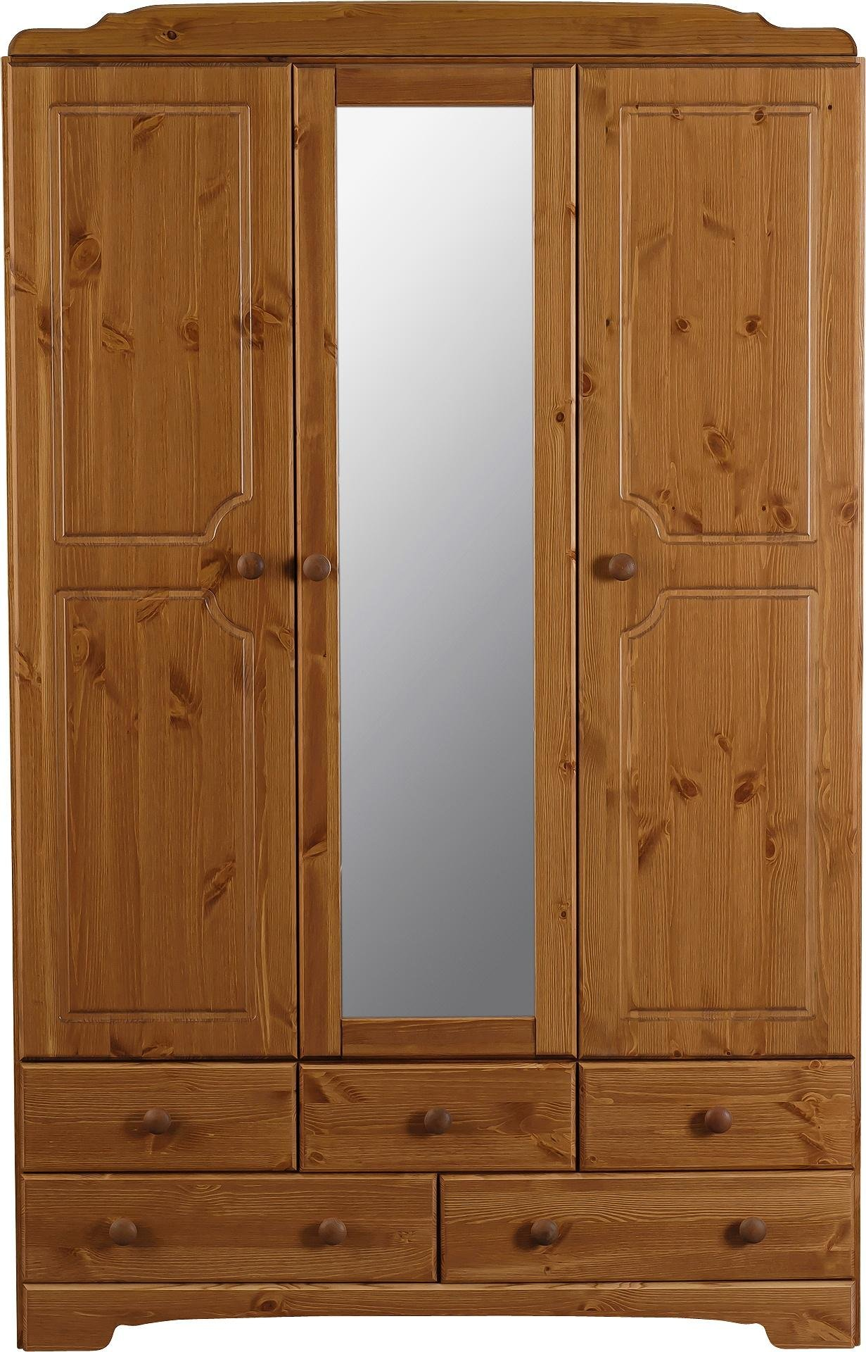 Argos Home Nordic 3 Door 5 Drawer Mirrored Wardrobe - Pine
