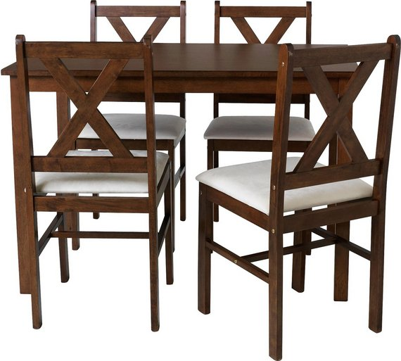 HOME Ava Solid Walnut Dining Table 4 Chairs