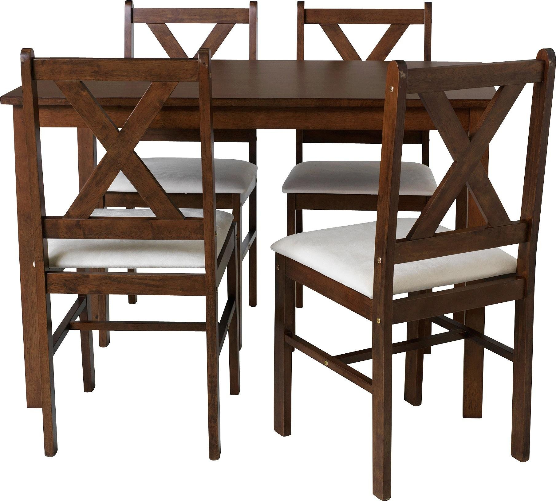 Buy HOME Ava Solid Walnut Dining Table 4 Chairs Cream at Argos