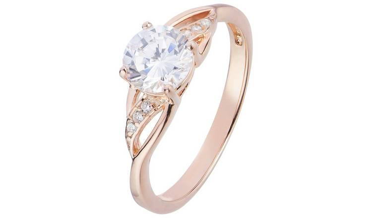 7d8fddcbefb Buy Revere 9ct Rose Gold Plated Silver CZ Crossover Ring | Limited stock  Jewellery and watches | Argos