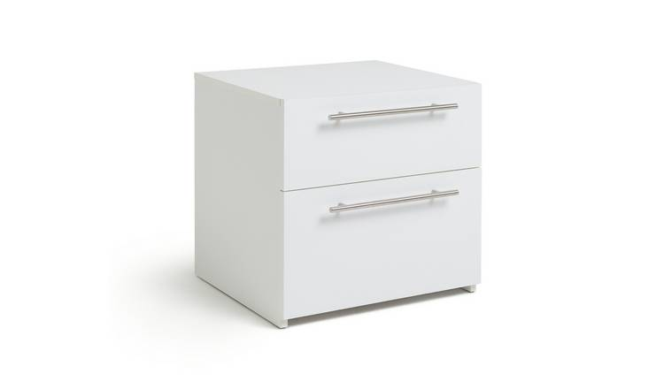 Habitat Atlas 2 Drawer Bedside Table - White