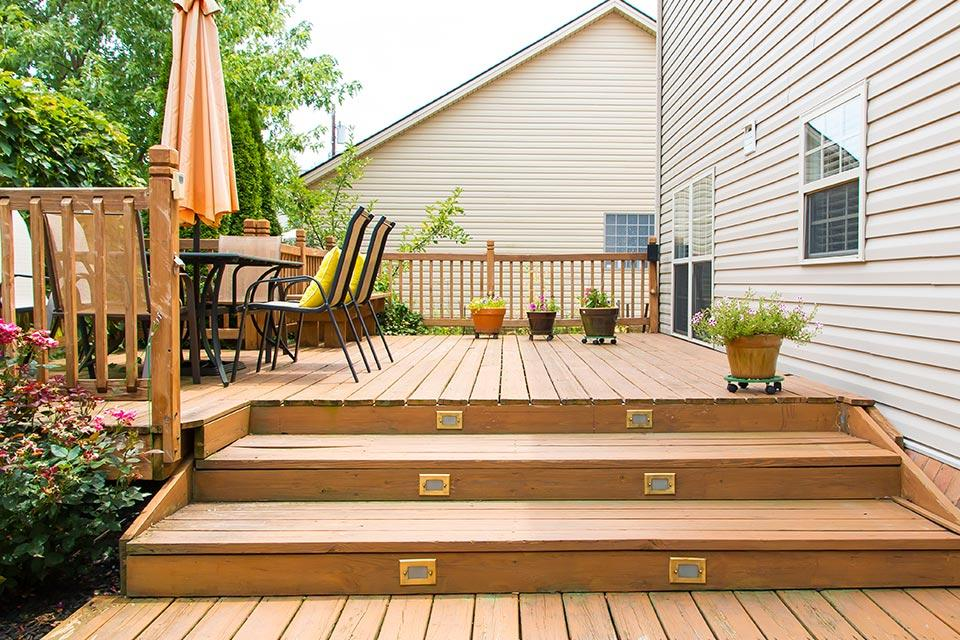 Wooden decking in garden.