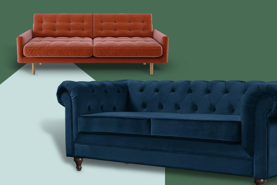 Two sofas on a green background.