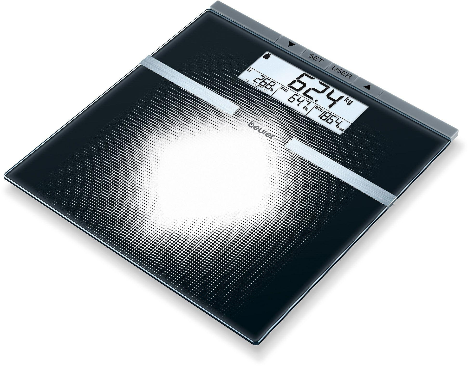 Image of Beurer BG21 Glass Body Weight Analysis Scale - Black
