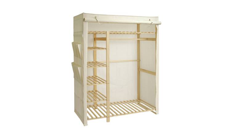 promo code 6d898 29a89 Buy Argos Home Polycotton and Pine Triple Wardrobe - Cream | Hanging rails  and canvas wardrobes | Argos