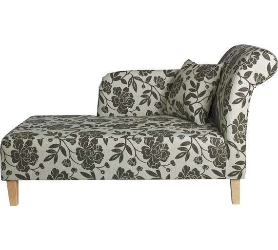 Buy home floral fabric chaise longue chocolate at argos for Argos chaise longue sofa bed