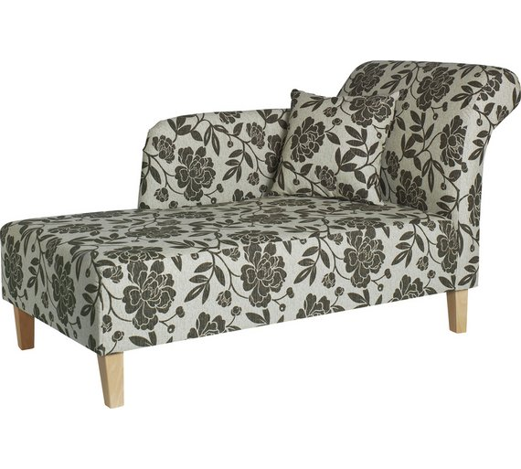 Buy home floral fabric chaise longue chocolate at argos for Chaise longue sofa bed argos