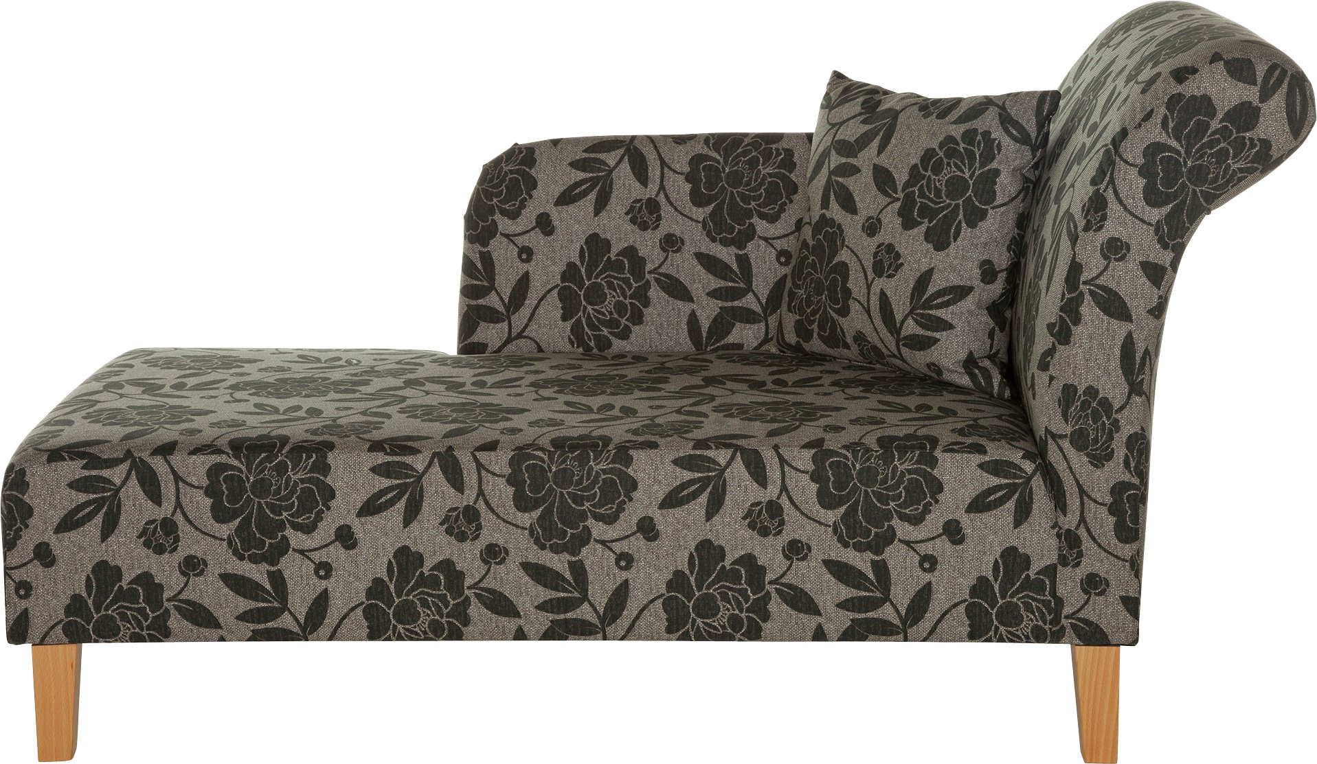 HOME Floral Fabric Chaise Longue - Charcoal  sc 1 st  Argos : chaise lounge argos - Sectionals, Sofas & Couches