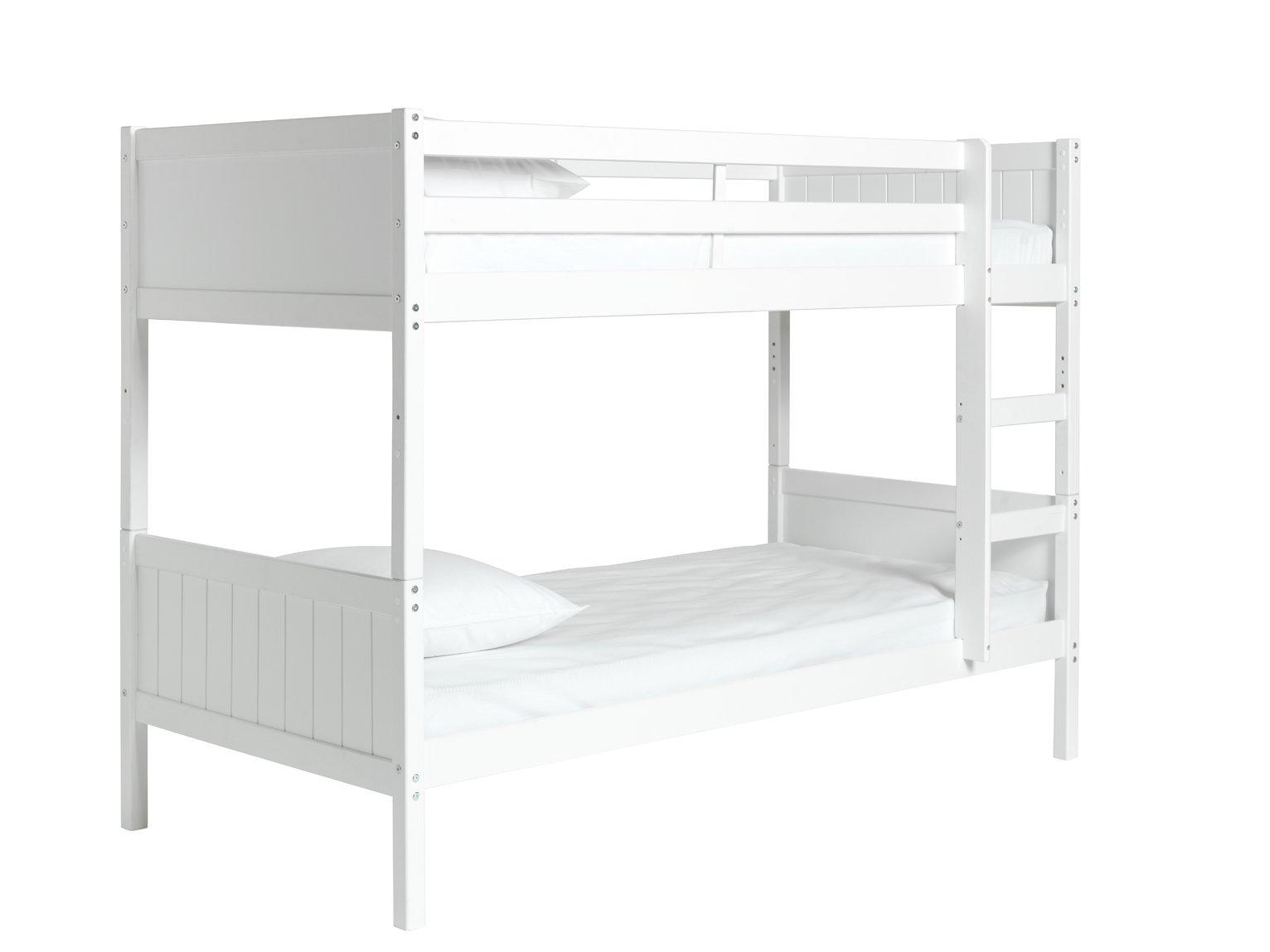 Detachable single bunk bed frame white for Single bunk bed frame
