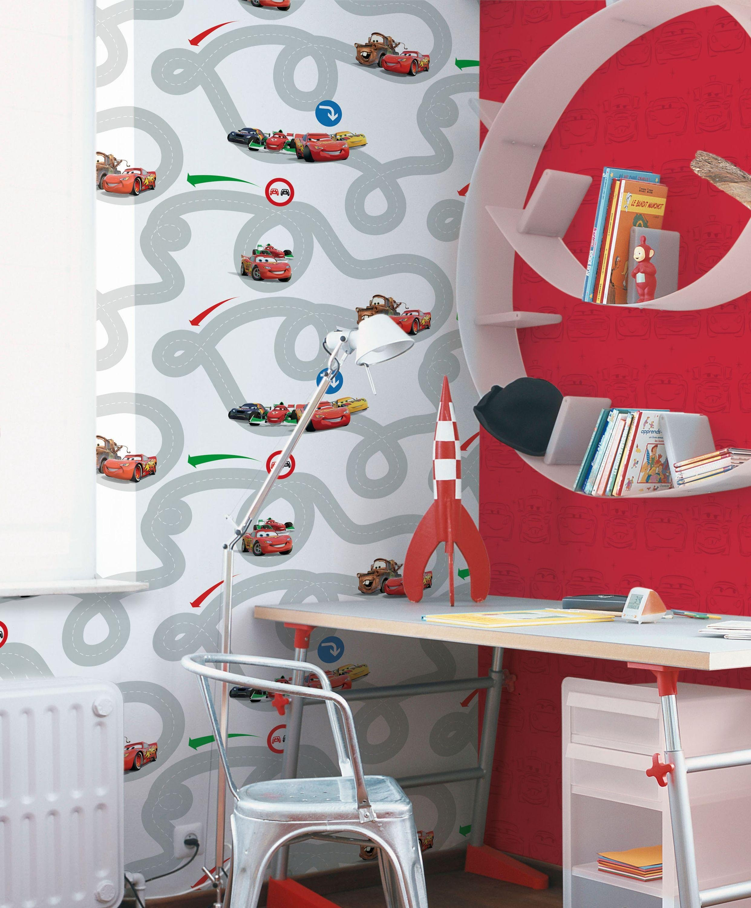 disney cars racetrack wallpaper sample  multicoloured.