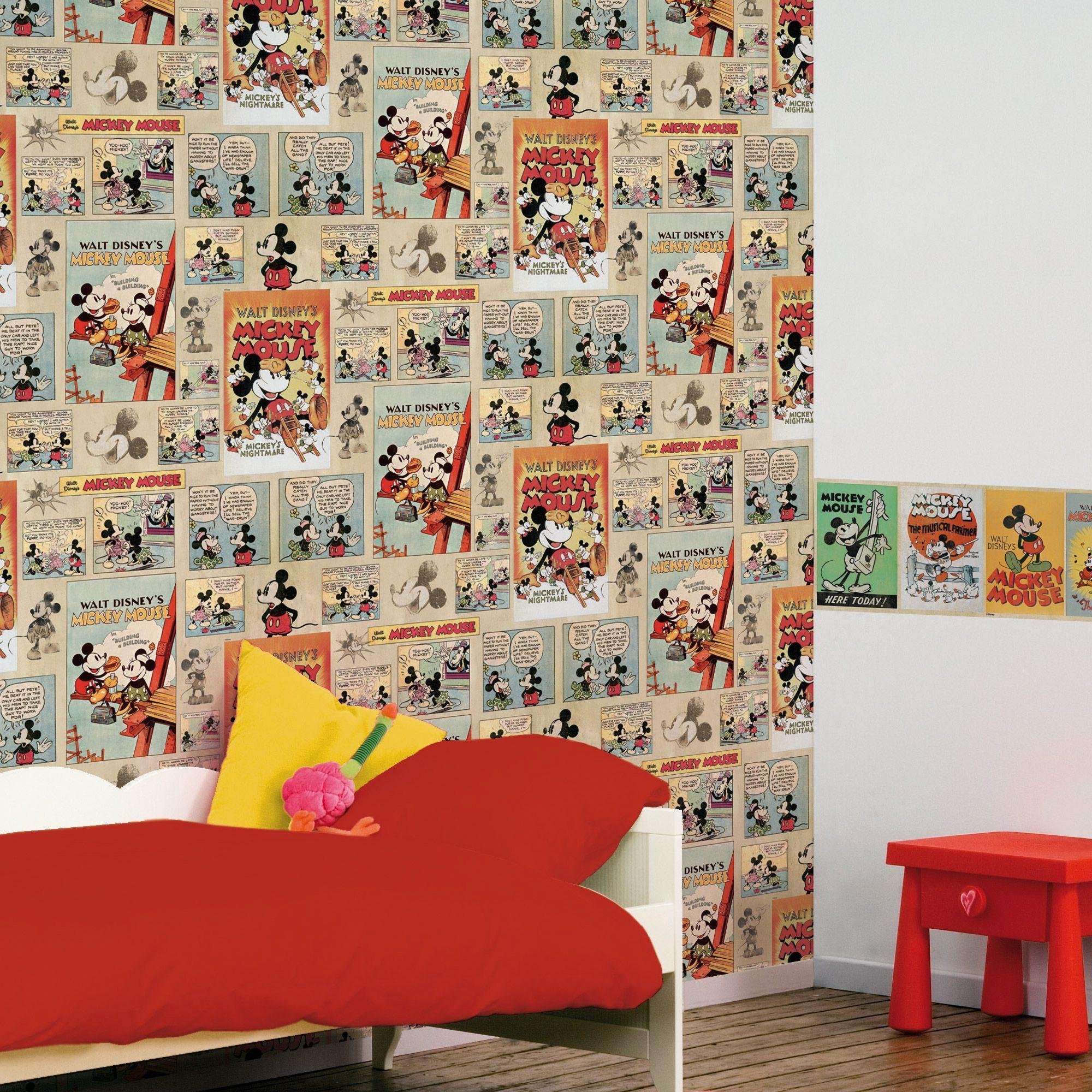 disney mickey mouse vintage wallpaper sample multicoloured.