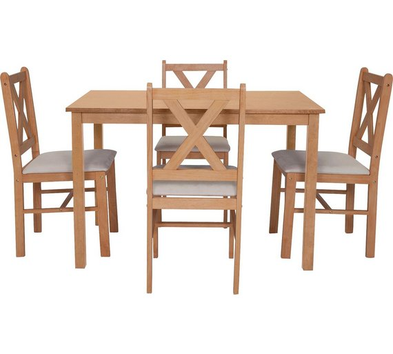 Buy HOME Ava Solid Oak Dining Table 4 Chairs