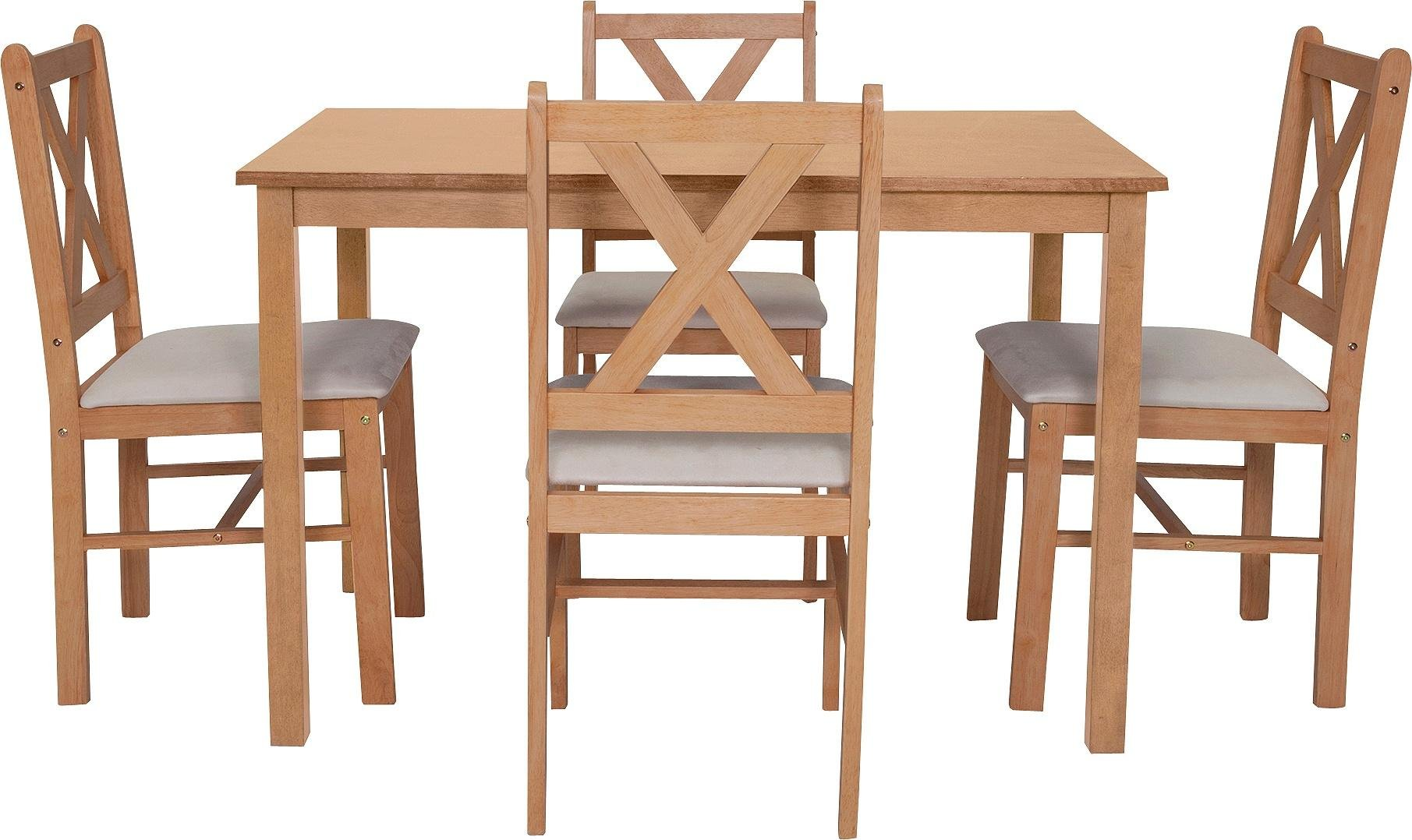 Buy HOME Ava Solid Oak Dining Table   Chairs - Cream at Argos