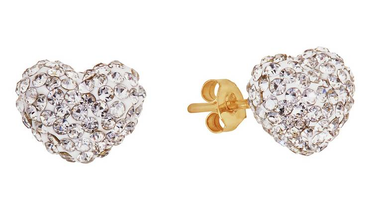 Revere Round Crystal 9ct Yellow Gold Heart Stud Earrings