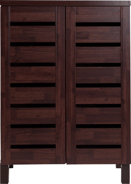 HOME Slatted Shoe Storage Cabinet - Mahogany Effect