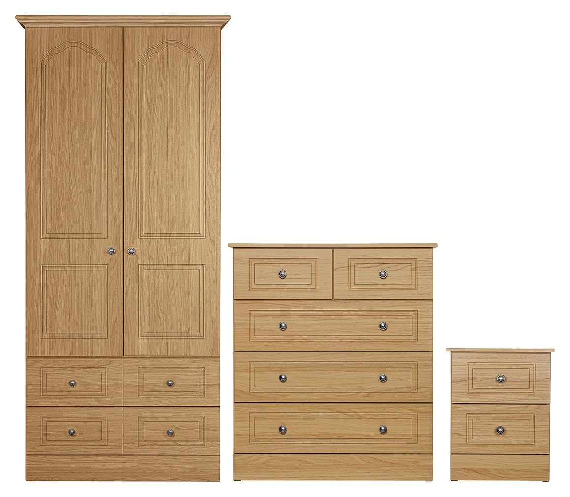 Argos Home Stratford 3 Pc 2 Dr Wardrobe Package - Oak Effect