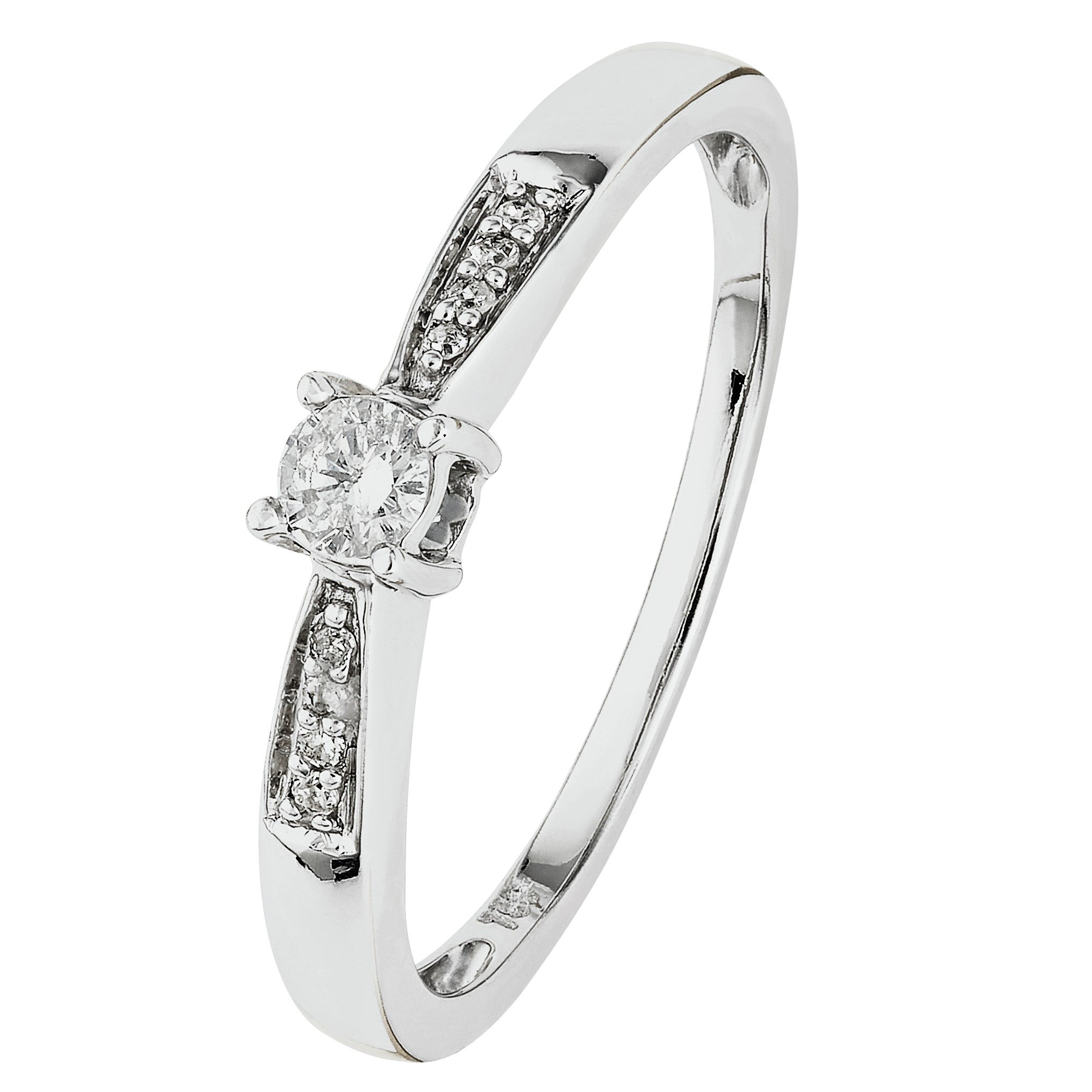18 Carat White Gold 010 Carat Diamond - Solitaire Ring