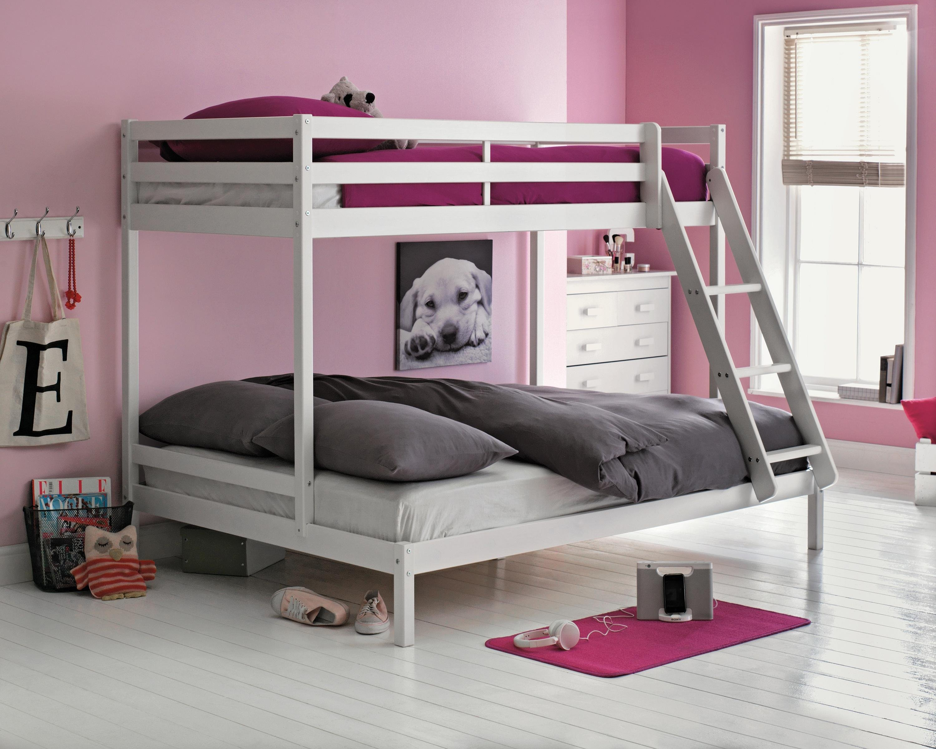 home kaycie single and double bunk bed frame white