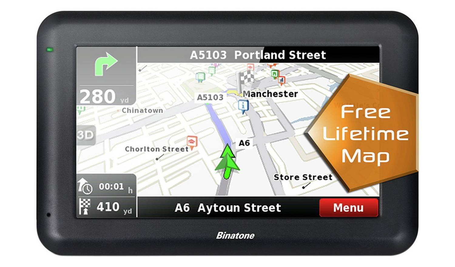 Image of Binatone - Sat Nav - U435 43 Inch - Lifetime Maps Uk & ROI