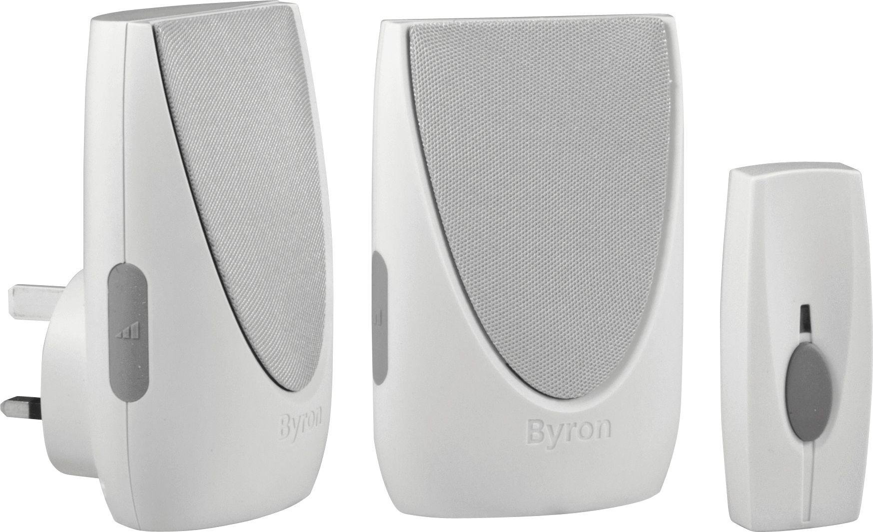 Image of Byron White 100m Plug-in Wireless Twin Chime Doorbell Kit
