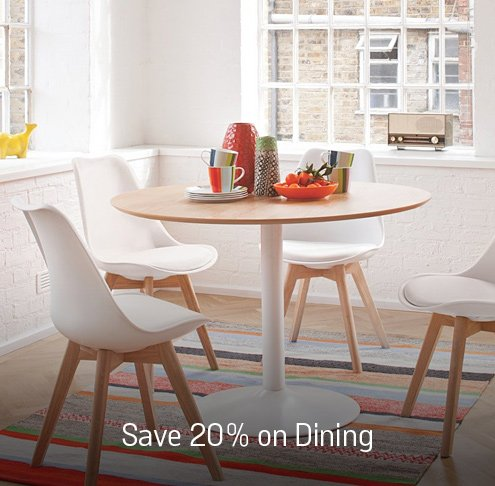 Save up to 20% on selected dining room furniture.